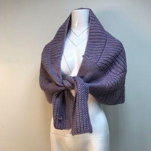 vintage Y2K purple cable knit scarf draped shawl
